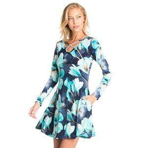 Floral Print Long Sleeve Flirty Loose Swing Dress